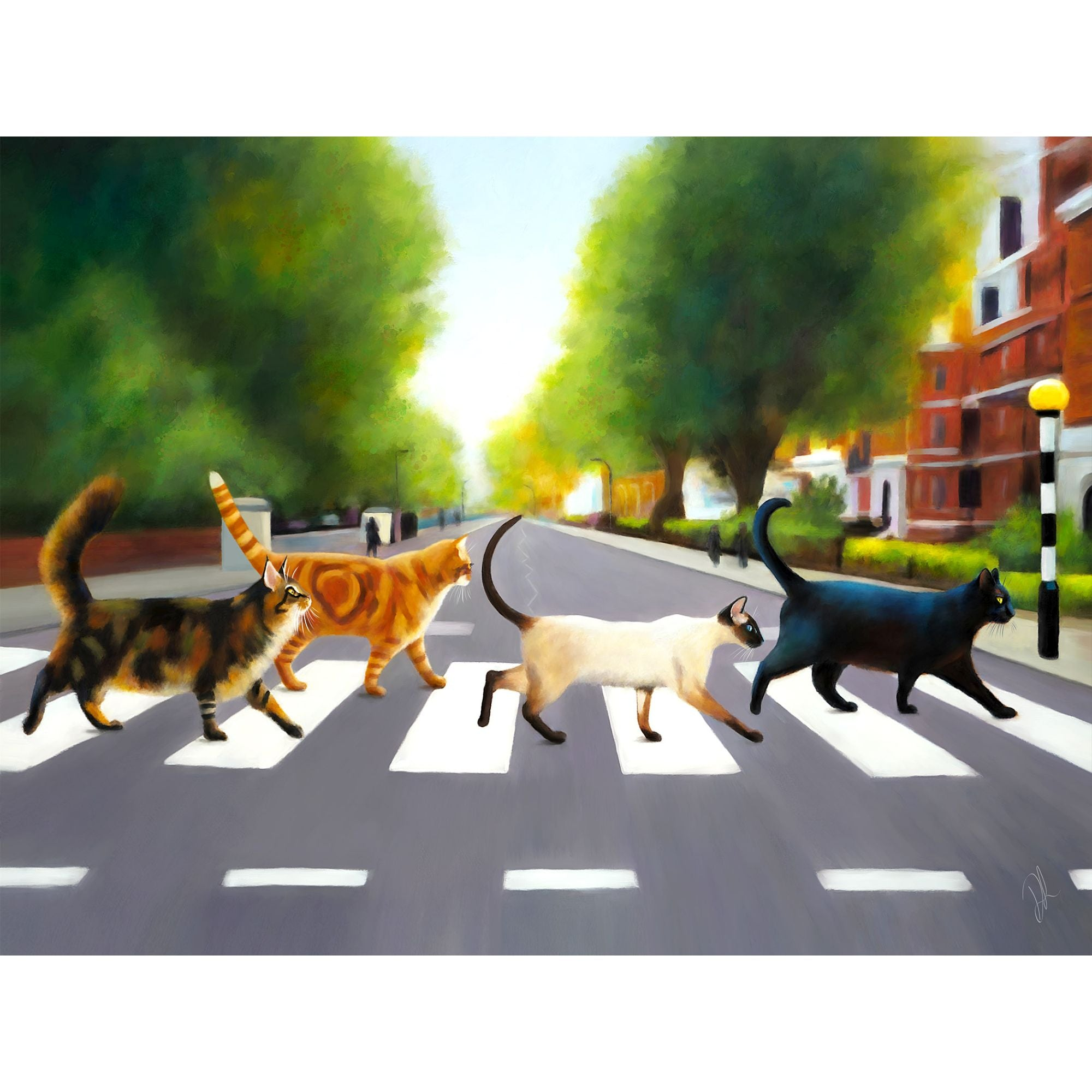 Four cats crossing Abbey Road in London.  Denise Laurent art commemorating the seminal Abbey Road album by The Beatles.