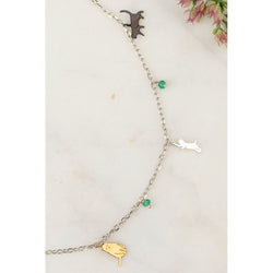 Silver Cat Charm Necklace, 48cm