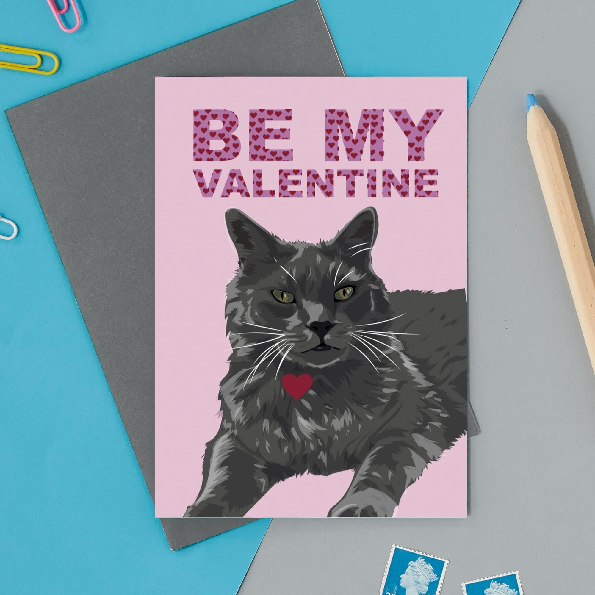 Be My Valentine Cat Card