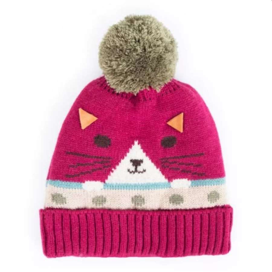 Cool Cat Hat in Raspberry with Sage Green Bobble