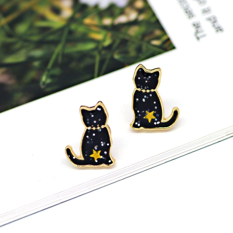 Sparkly Black Cat Earrings