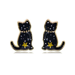 Black Cat Sparkly Earrings