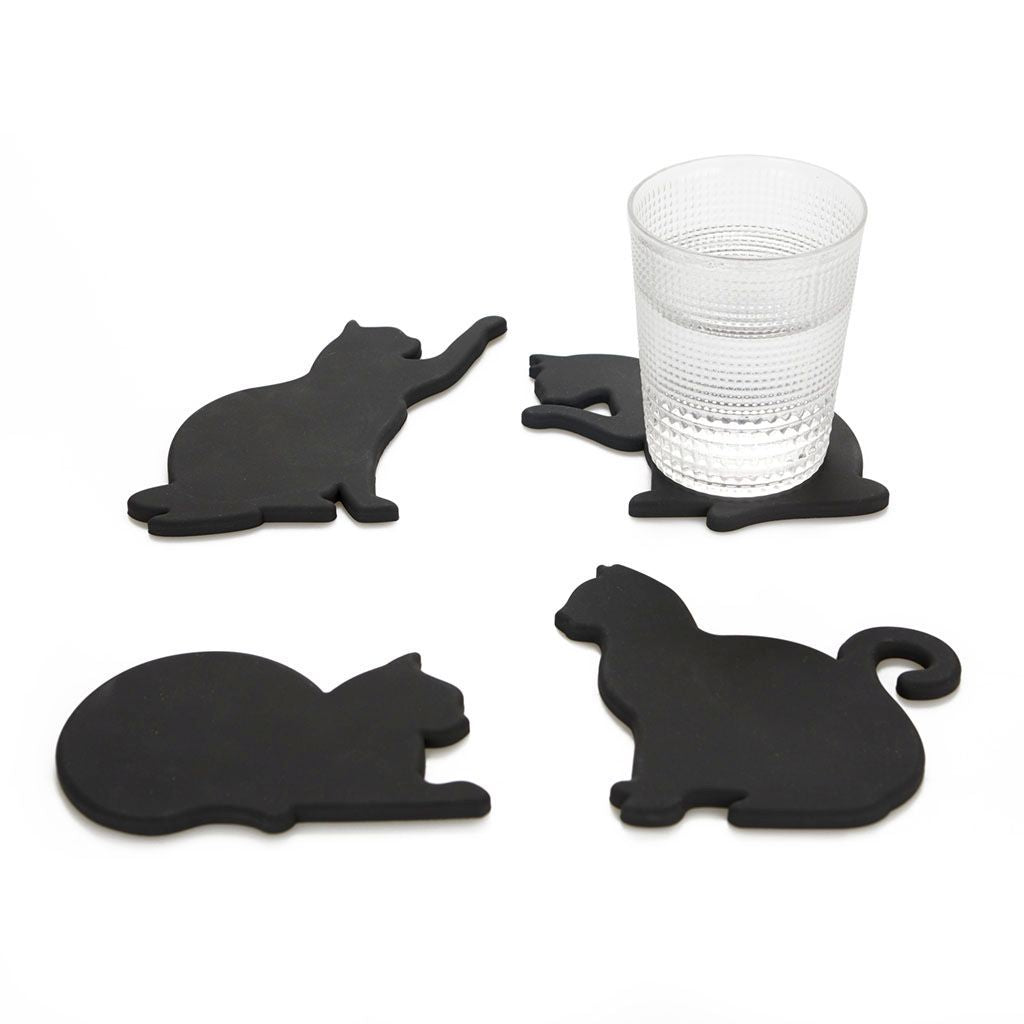 Black Cat Silicone Coasters