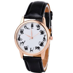 black cats watch with black strap