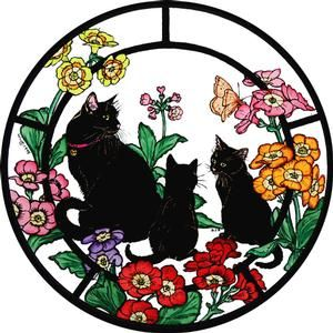 Black Cats Static Window Cling