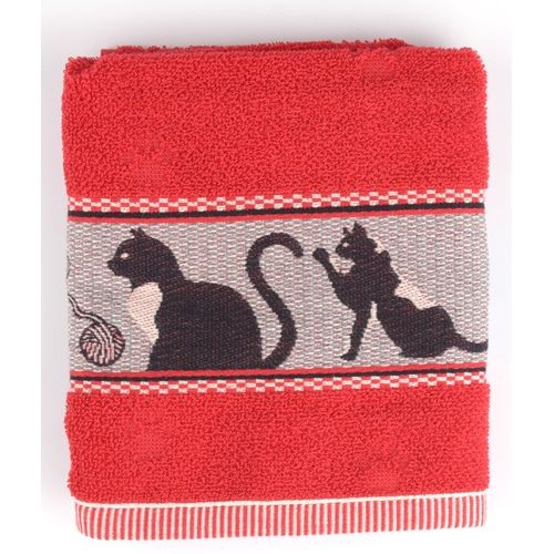 Black Cats Hand Towel, Red