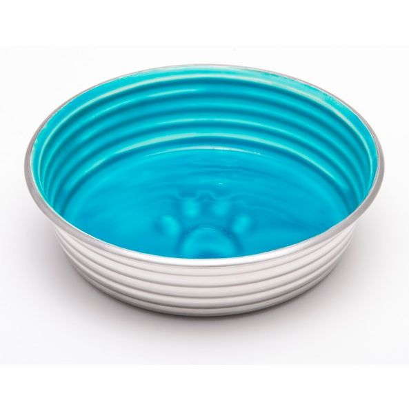 Blue Ceramic Stainless Steel Feeding Bowl