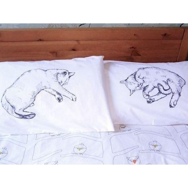 Cat Motif Egyptian Cotton Pillow Case Pair