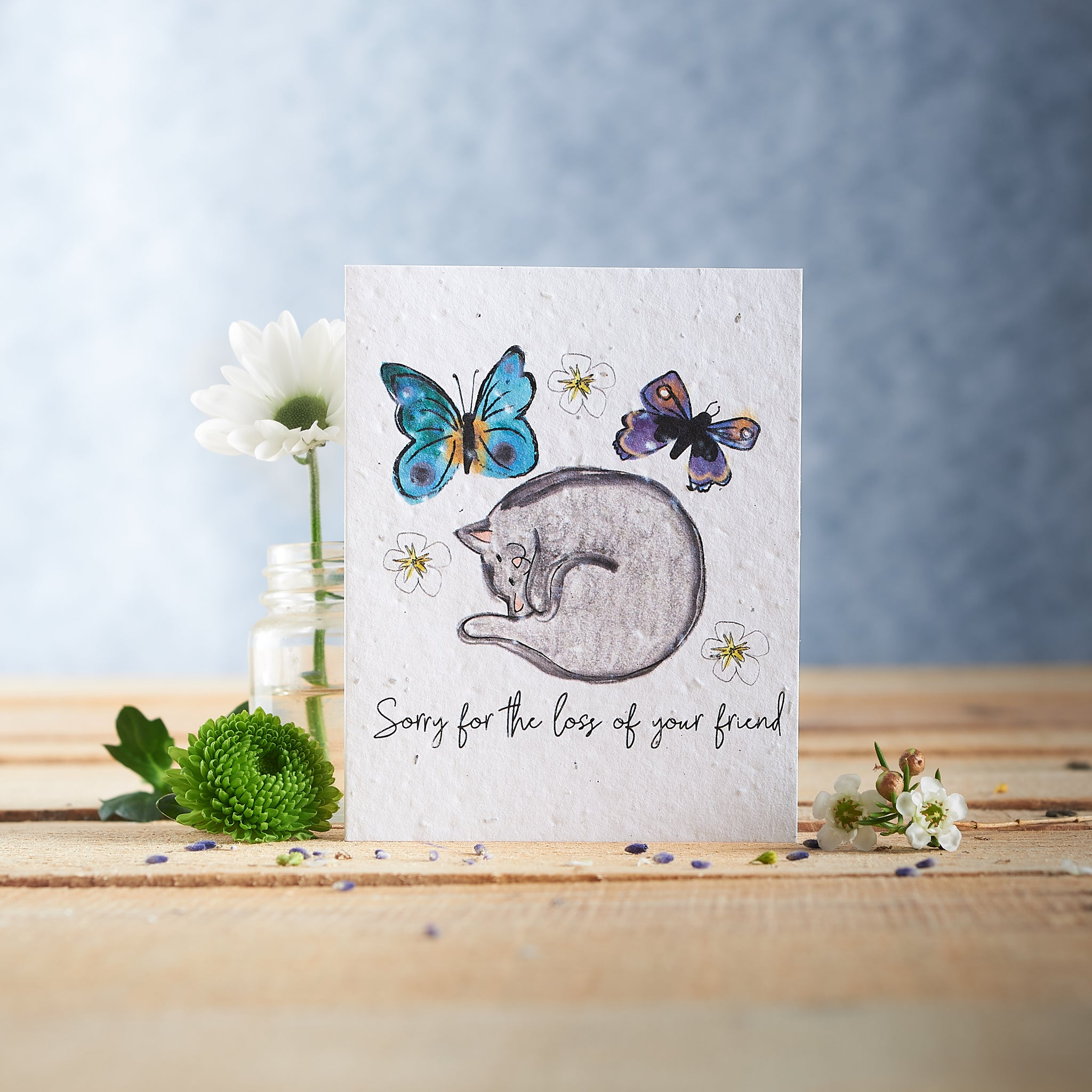 Cat Sympathy plantable wildflower seed card
