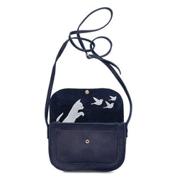Cat Chase Leather Handbag, Ink Blue