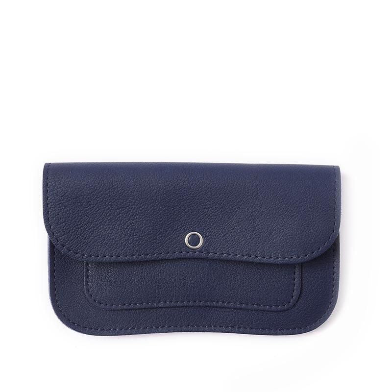 Cat Chase Leather Purse, Ink Blue