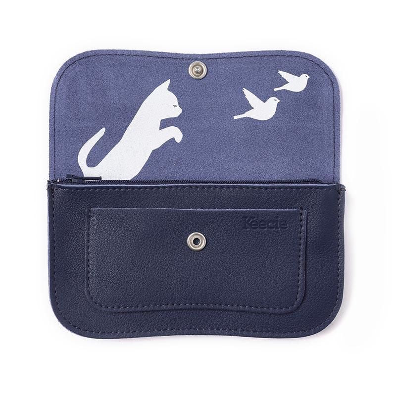 Cat Chase leather Purse Blue Ink