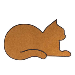 Brown cat shaped doormat in pvc/polyester