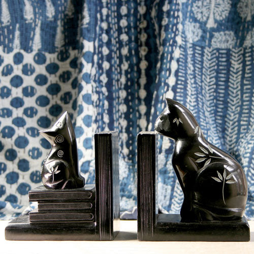 Cat and Mouse Stone Bookends