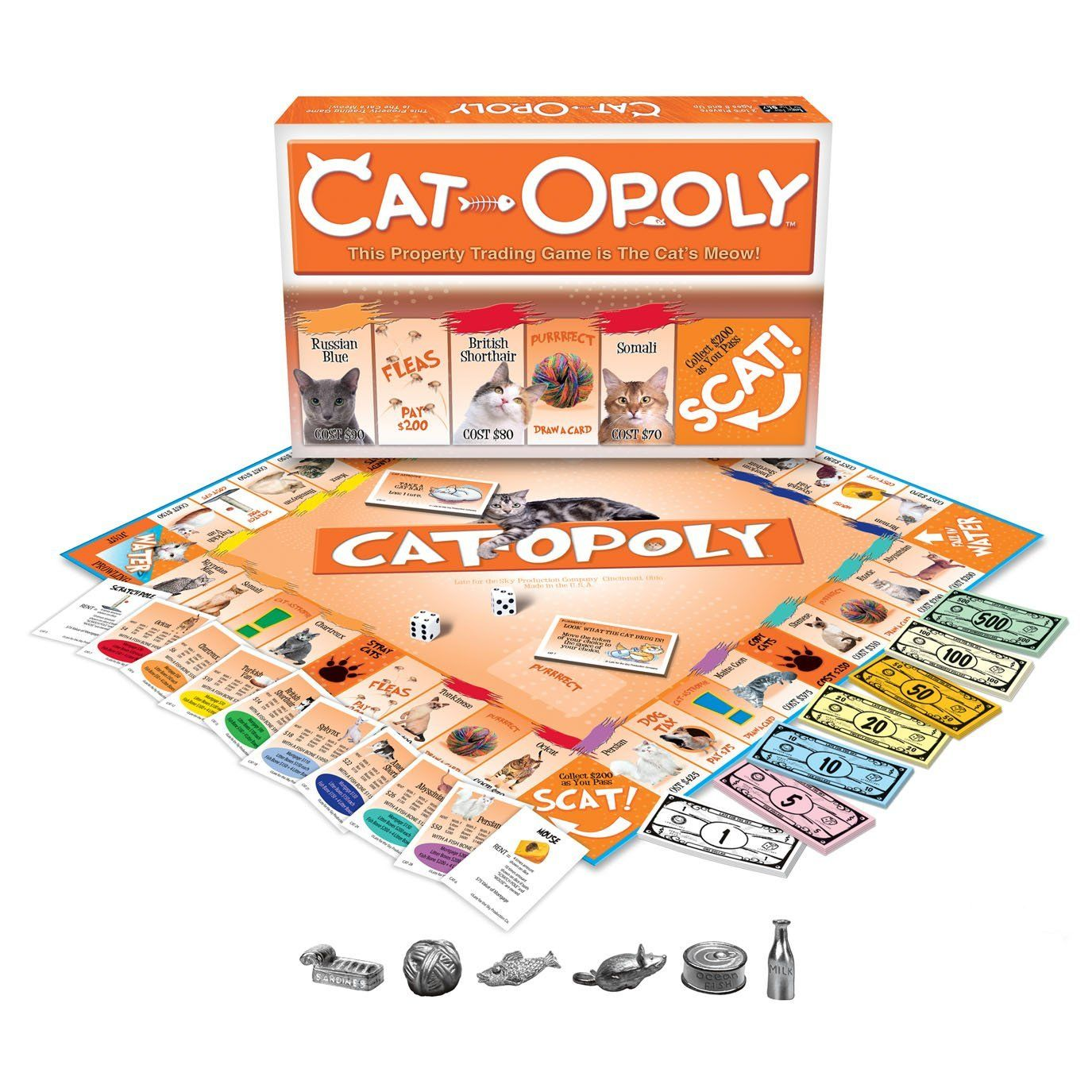 Catopoly board game - cat monopoly.  Image shows game board and metal tokens