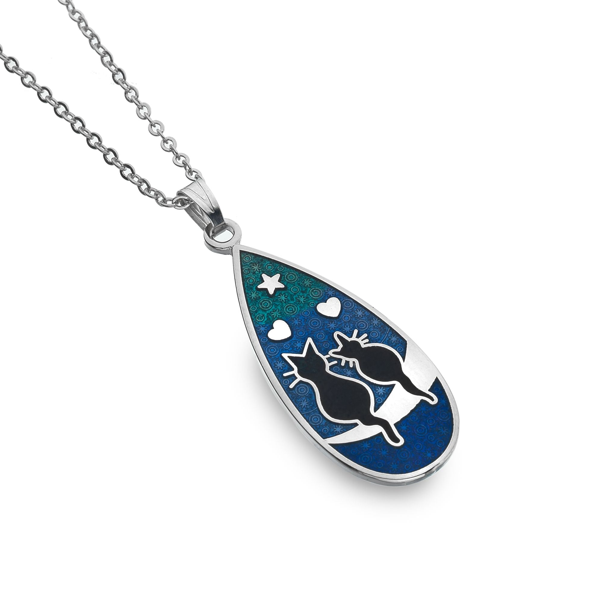 Love Cats Enamel Teardrop Necklace