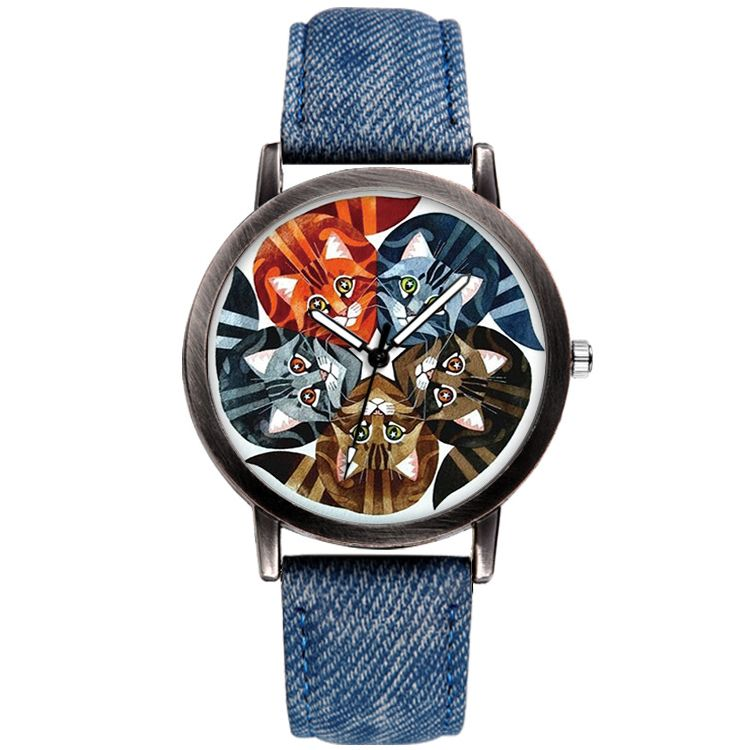 Denim Strap Cats Watch