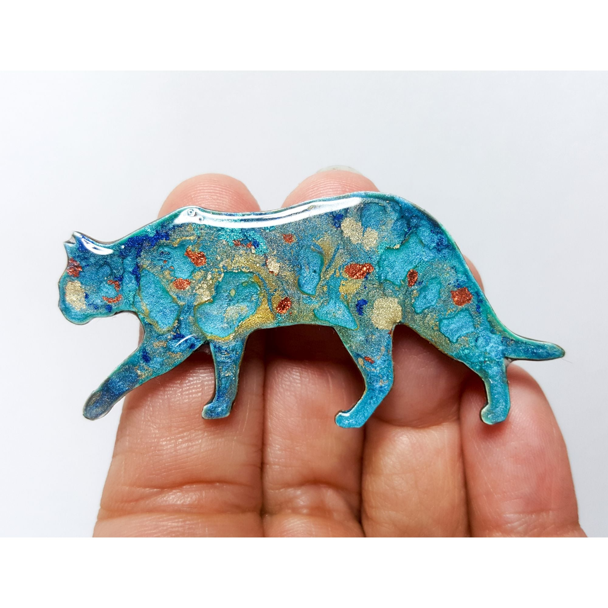 Walking Cat Brooch - Charlie, multi