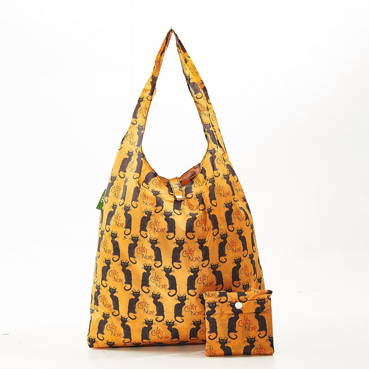Chat Noir packable Shopper Mustard yellow