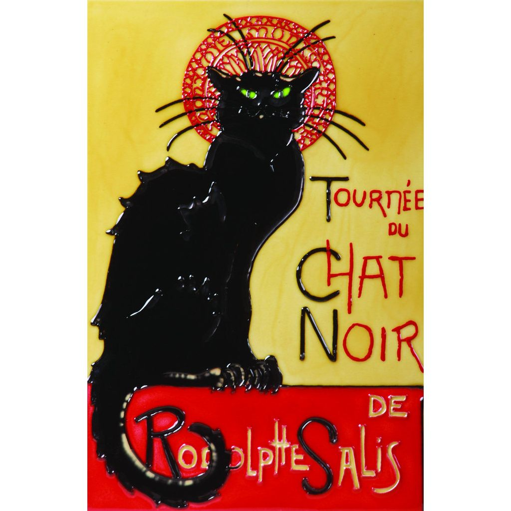 Chat Noir Hand Painted Wall Tile