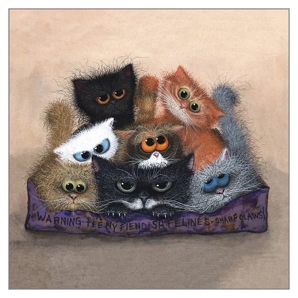 Chocolate Box Teeny Fiendish Felines Card by Tamsin Lord