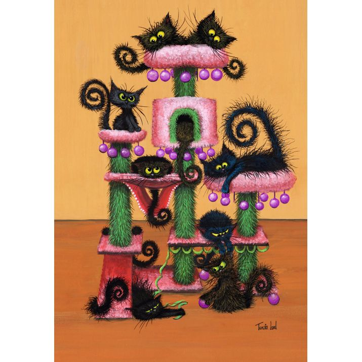 Cat Tree Christmas Card Pack by Tamsin Lord