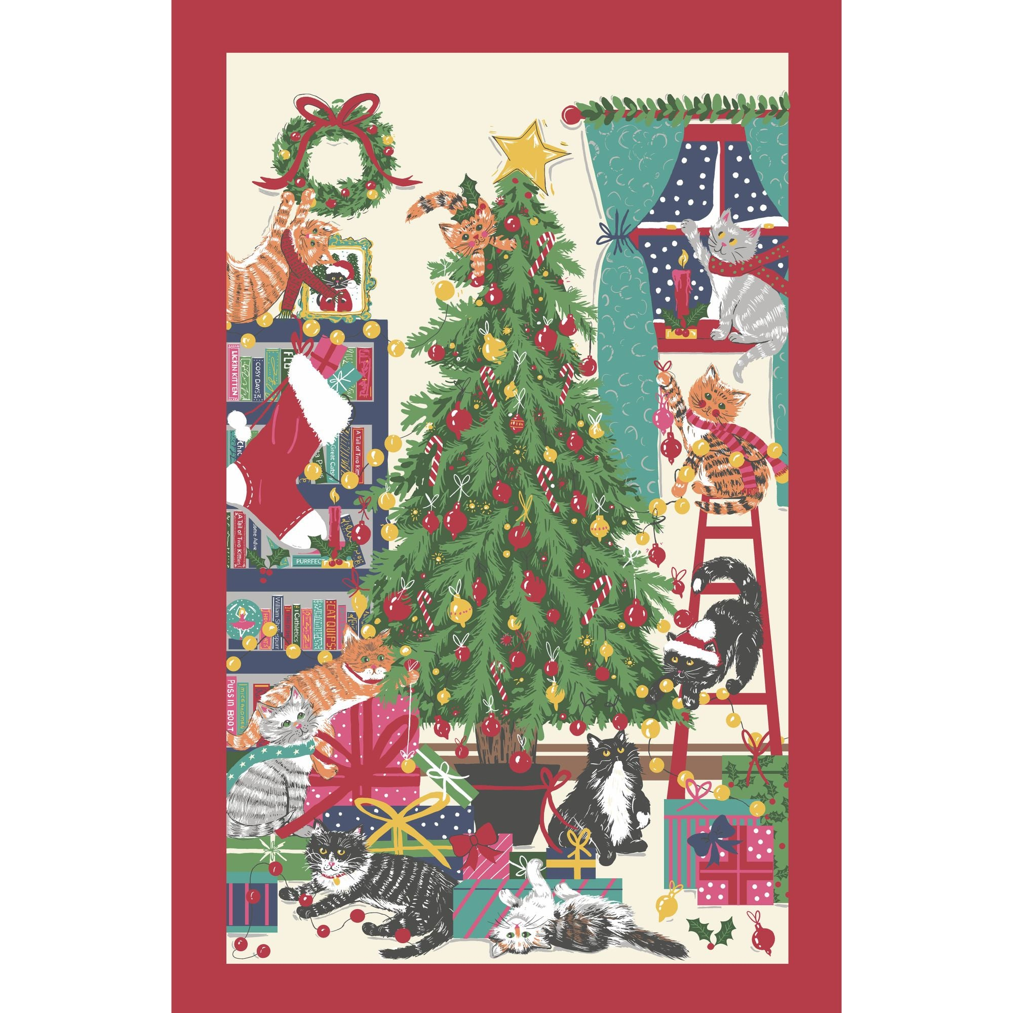 Christmas Cats Tea Towel