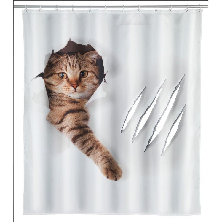 Shower Curtain - cat breaking through a white shower curtain pictured with torn holes in it