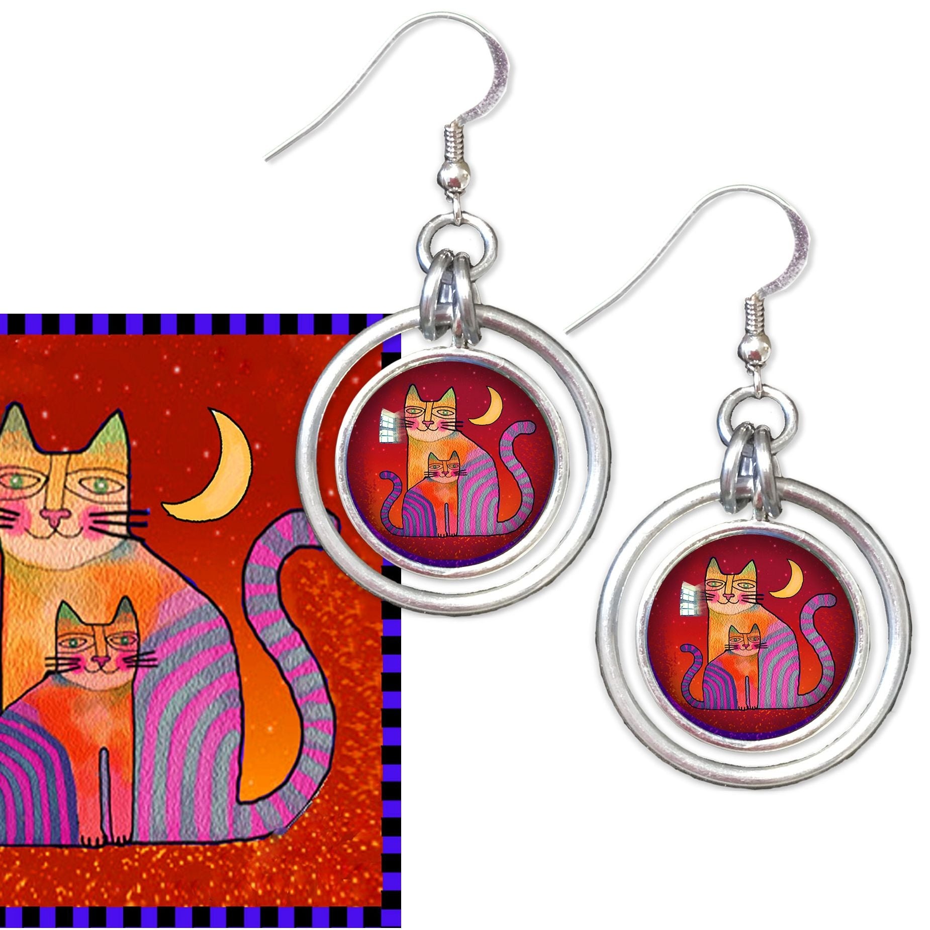 Colourful Cat Hoop Earrings