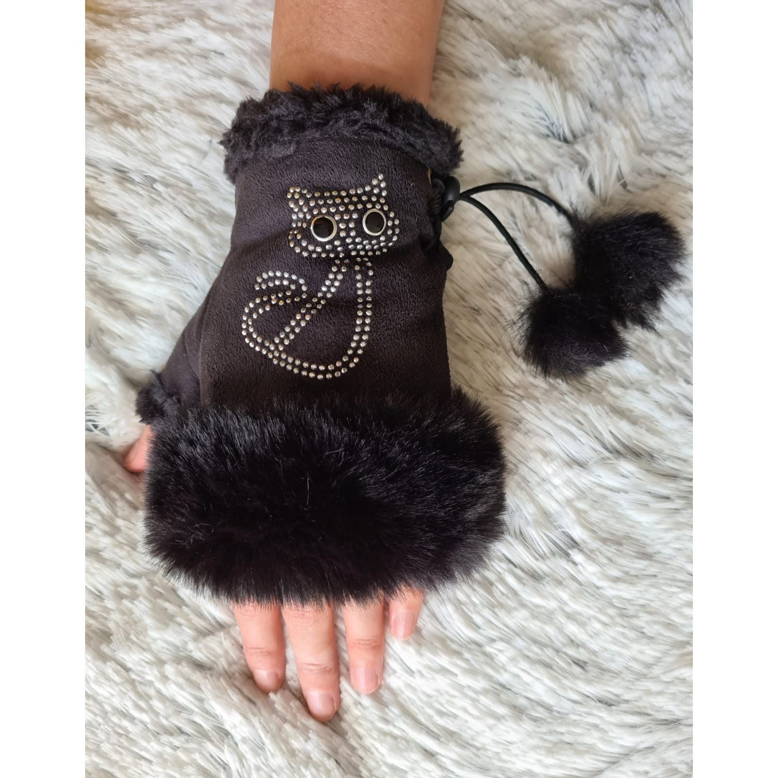 25% OFF Faux Suede Fingerless Mittens