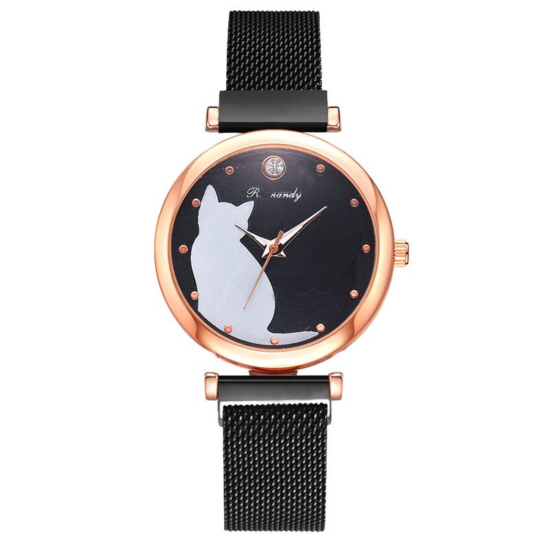 Stylish cat watch featuring white cat, rose gold case and mesh strap