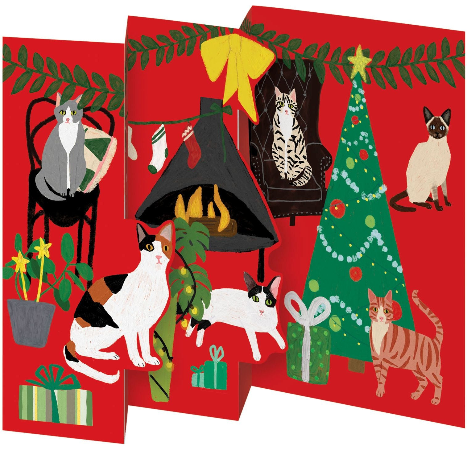 Fireside Cats Tri-Fold Card Pack