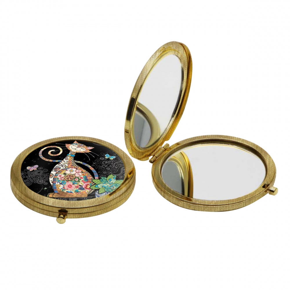 Floral Cat Compact Mirror