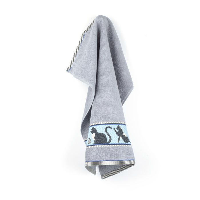 Grey Hand Towel with cat decoration