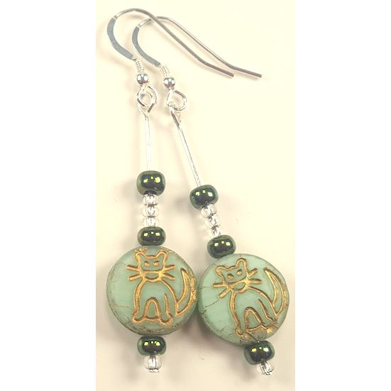 Glass Drop Cat Earrings, Green