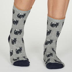 Grey Marl Kitty Socks