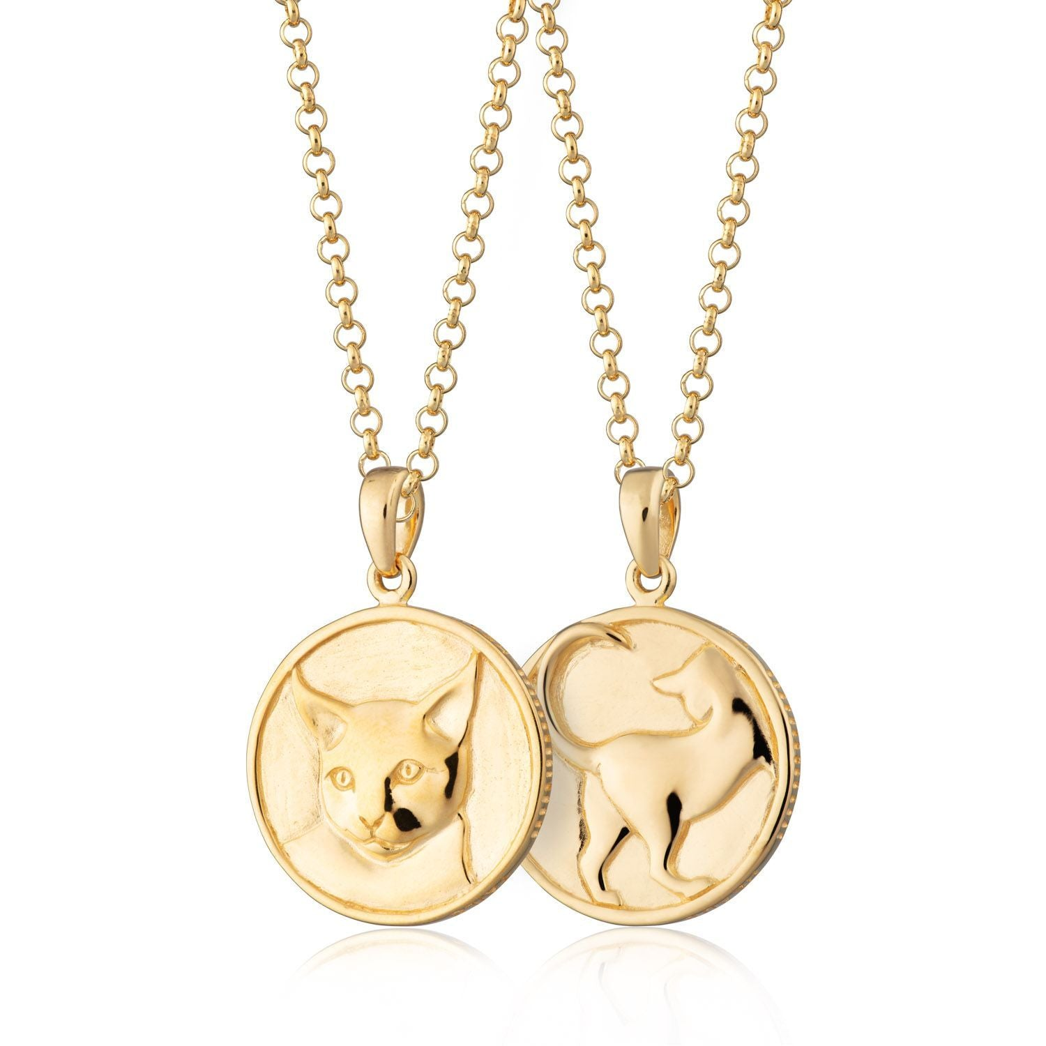 Heads and Tails Cat Necklace Gold Plated
