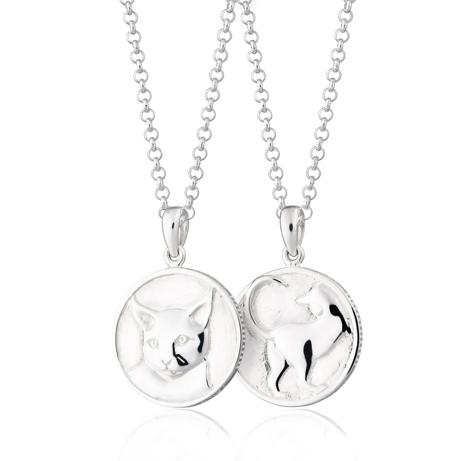 Heads and Tails Cat Silver necklace