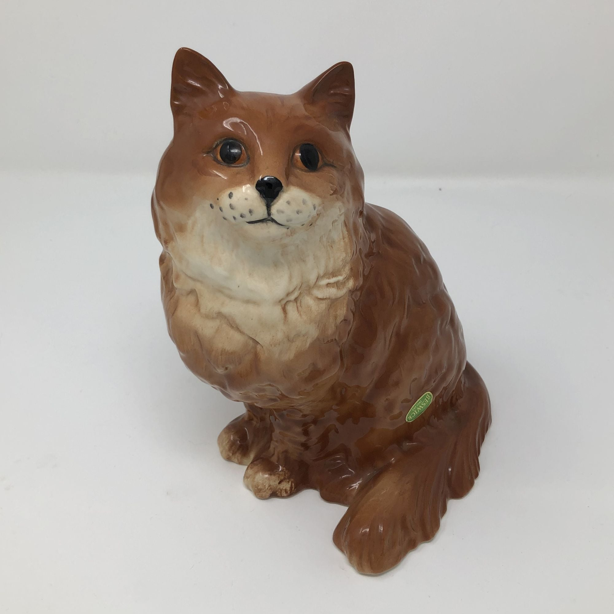 Vintage Beswick Long Haired Ginger and white Cat Model 1867