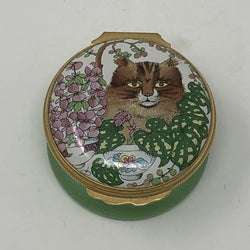 Vintage Halcyon Days Tabby Cat Ceramic Pot