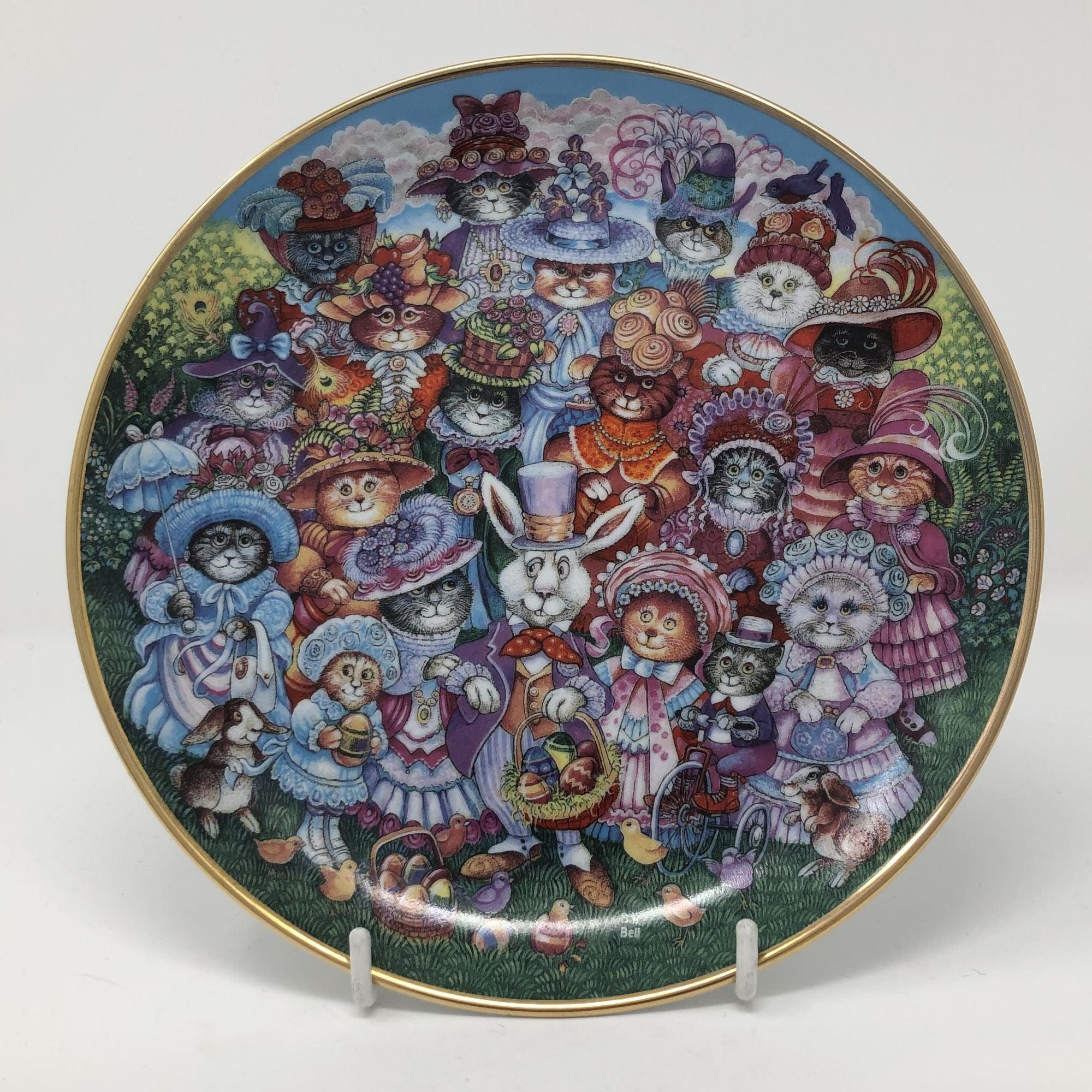 Vintage Bill Bell Plate Easter Purrade