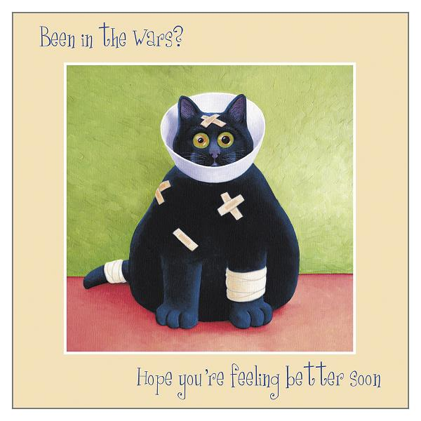 Cat greetings card with a get well soon message