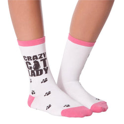 Crazy Cat Lady Socks, White UK 3-7