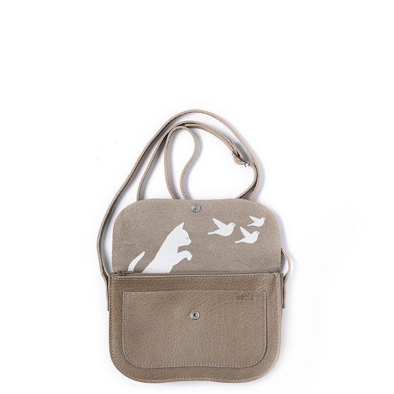 Cat Chase Leather Handbag, Moss