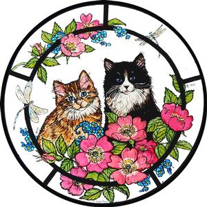 Kittens & Roses Window Cling