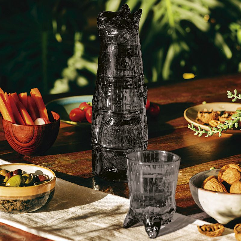 Set of 4 Stacking Kitty Glasses in Grey