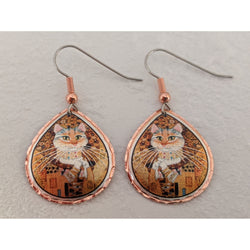 Klimt Cat Art Earrings