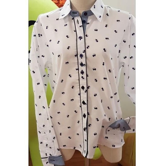 25% OFF Ladies Shirt with Blue Cat Motif