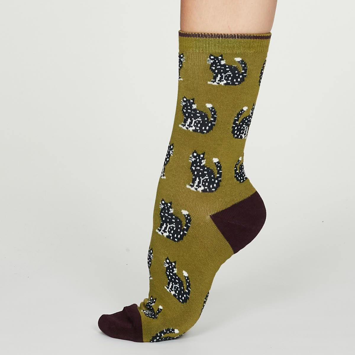 Lichen Green Kitty Socks