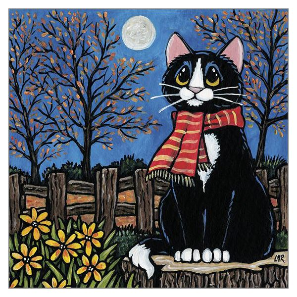 Lisa Marie Robinson Black & White Cat Card - One Autumn Night